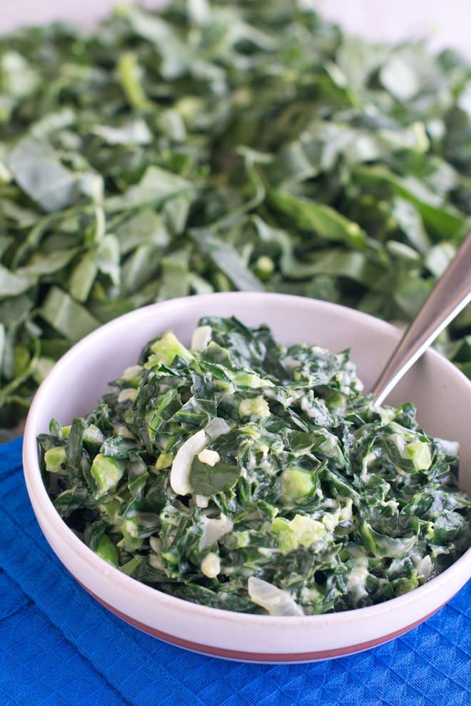 These creamed collard greens are a delicious and healthy side dish that puts a new twist on the classic steakhouse creamed spinach.