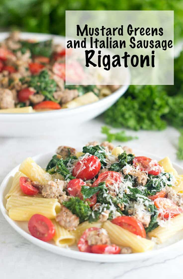 Sausage Rigatoni with Mustard Sauce is an easy pasta dinner that comes together in 25 minutes. This recipe is a quick and easy pasta dinner dish featuring spicy mustard greens, Italian sausage and grape tomatoes. Everything is served over a bed of al-dente rigatoni for the perfect Italian meal. #Italian #pasta #dinner #pastadinner #sausage #homemade
