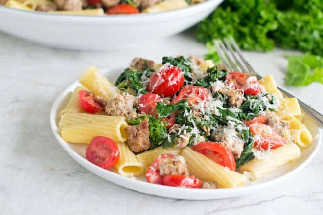 Mustard Greens and Italian Sausage Rigatoni