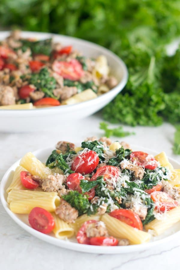 This recipe is a quick and easy pasta dish featuring spicy mustard greens, Italian sausage and grape tomatoes. Everything is served over a bed of al-dente rigatoni for the perfect Italian meal.