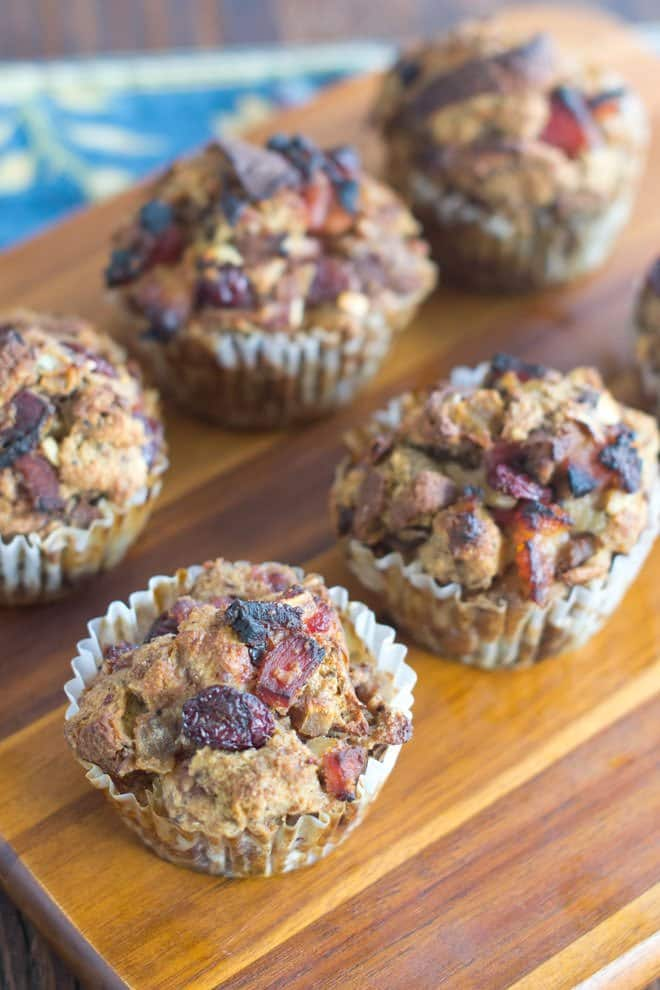 Delicious stuffing made using cranberry sauce and ham. These are cooked in muffin tins for a pretty presentation.