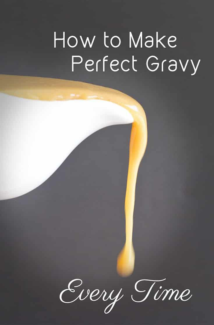 Use these Step-by-step instructions with pictures for how to make a flour gravy that's delicious and has the correct thickness every single time.  The ratio of flour to fat to stock is given as well as the method for how to combine everything to make it taste amazing. #thanksgiving #thanksgivingrecipe #gravy #homemade #recipe