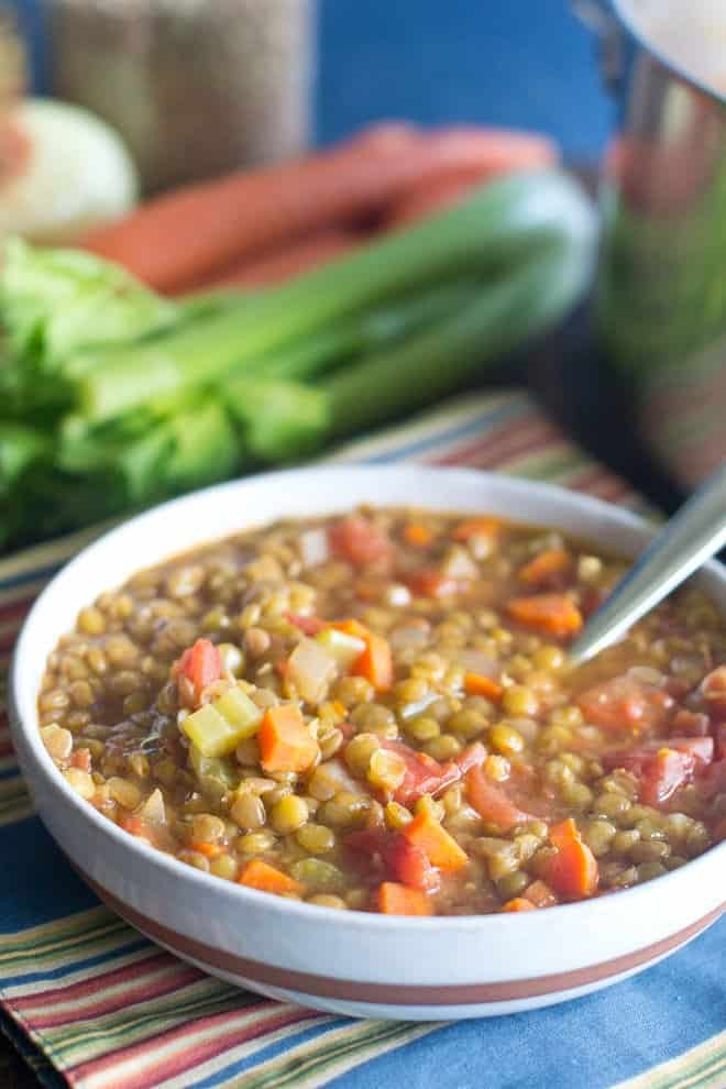 Learn how to make a delicious, hearty and healthy lentil soup. It has very few ingredients, is super-easy to make and is so utterly satisfying.