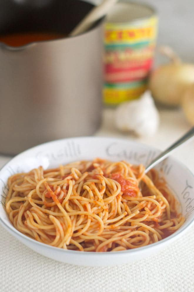 Bowl of spaghetti with homemade tomato sauce, pot of sauce in background.