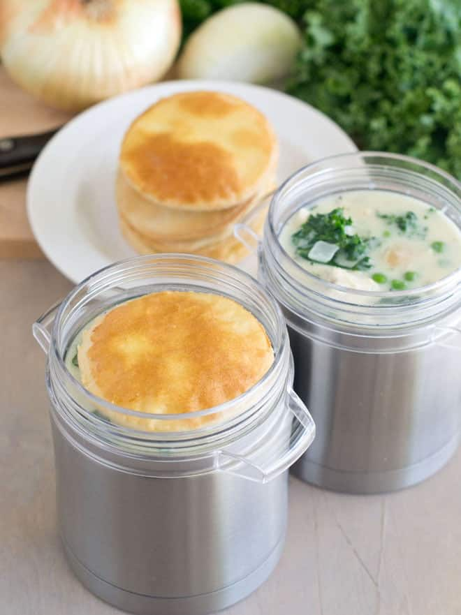 This is a quick and delicious take on chicken pot pies that has a cool way of making them portable to pack in your lunchbox.