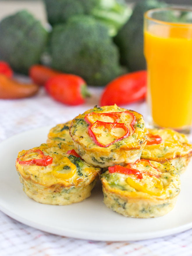 Don't fuss with a crust! Make these crustless quiches and then freeze them to have on hand for any busy morning. They're great for the lunchbox too.