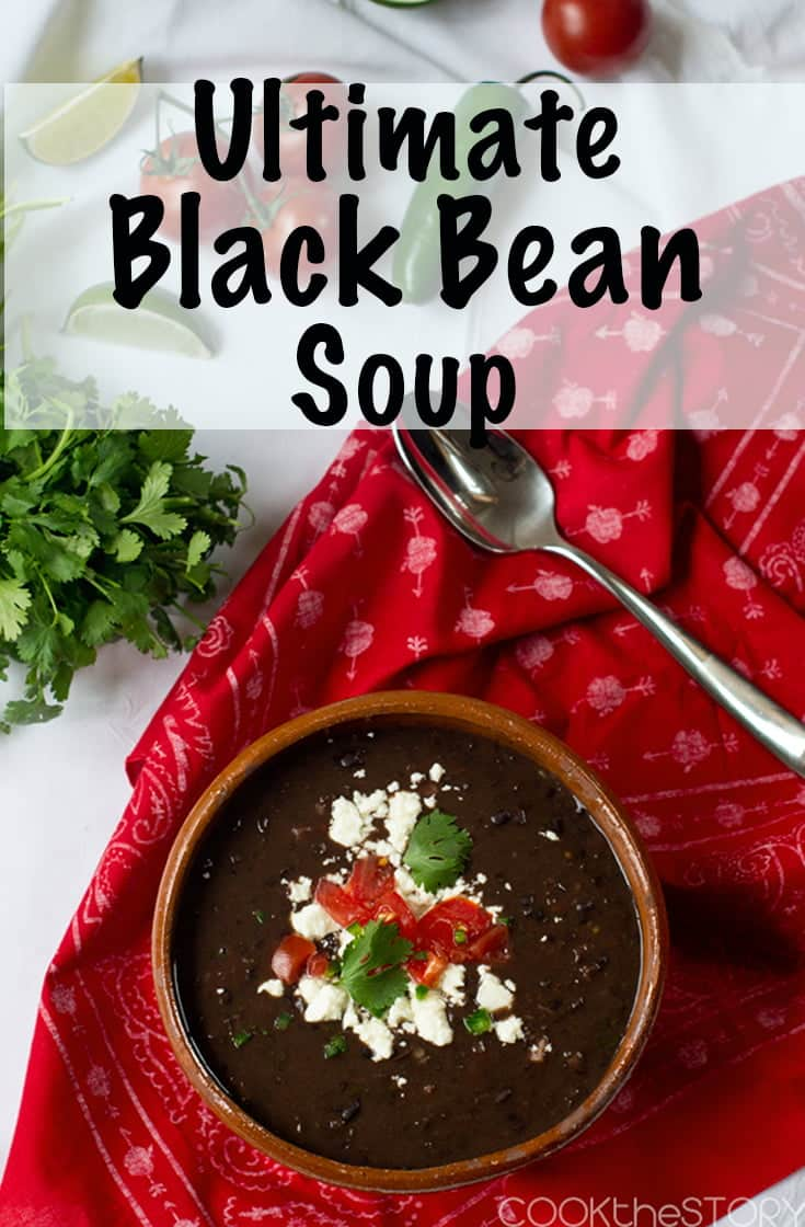 Ultimate Black Bean Soup - This black bean soup recipe is not only delicious but it's also extremely quick to make. It uses canned black beans, canned diced tomatoes, a touch of Canadian bacon, and it's topped with the fresh flavors of tomato and cilantro. You can make it vegan or vegetarian so there are so many options! It is protein packed from all of the beans. #beans #soup #healthy #healthyrecipe