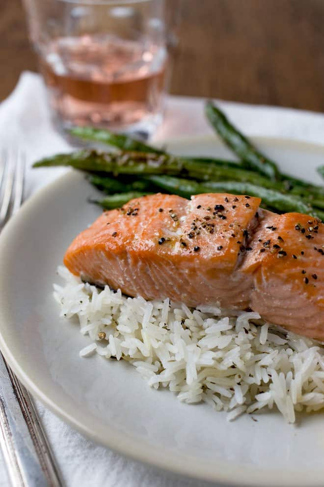 Best Salmon Recipe. A side of salmon is baked and then cut into portions. The rice and green beans cook at the same time for a convenient dinner.