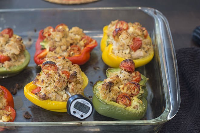 Baked Greek Chicken Stuffed Peppers.