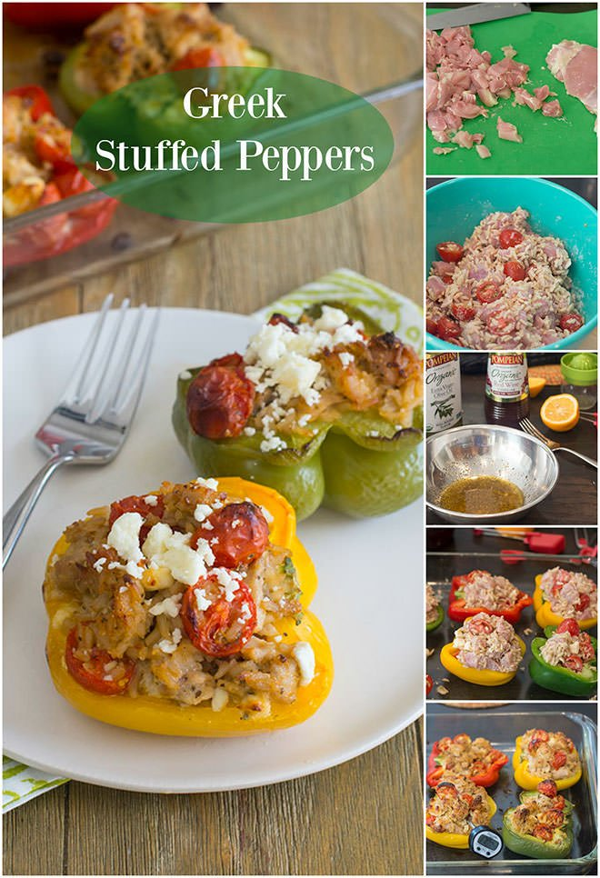 These tasty Chicken Stuffed Peppers have the flavors of your fave Greek salad. They\'re quicker than classic stuffed peppers so make them on a weeknight!