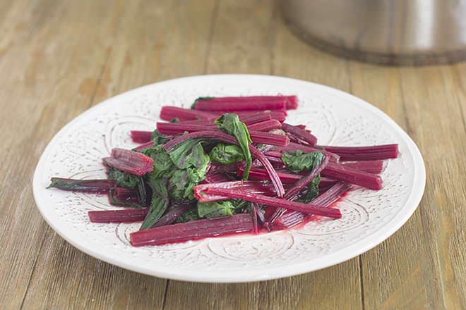 Cooked beet greens, ready to serve.