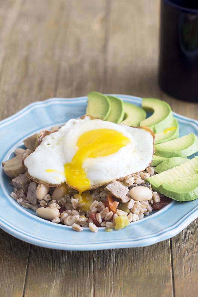 This protein-packed breakfast bowl mixture is made in a big batch so that you can freeze it and have a healthy breakfast at your fingertips every day.