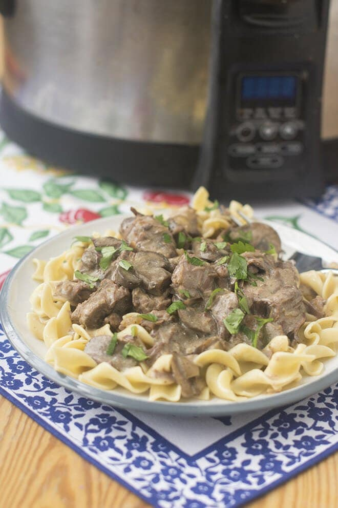 There's nothing easier or tastier than a beef stroganoff made in the slow cooker. Everything goes in, and deliciousness comes out!