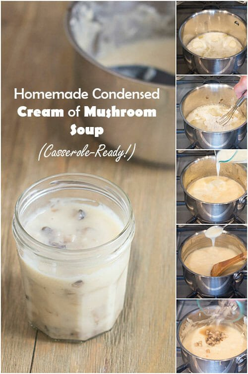 Learn how to make homemade condensed mushroom soup to use in casseroles. This recipe uses all whole ingredients and you get to control the salt content.