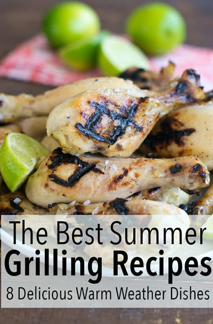 The best summer grilling recipes are essential for a great summer. Check out 8 of the best recipes here. You can use a gas or charcoal grill to make these. This includes main dishes like burgers, chicken, and pork and includes sides like grilled brie and Mexican street corn. #summer #grill #grilling #recipe #recipes #dinner