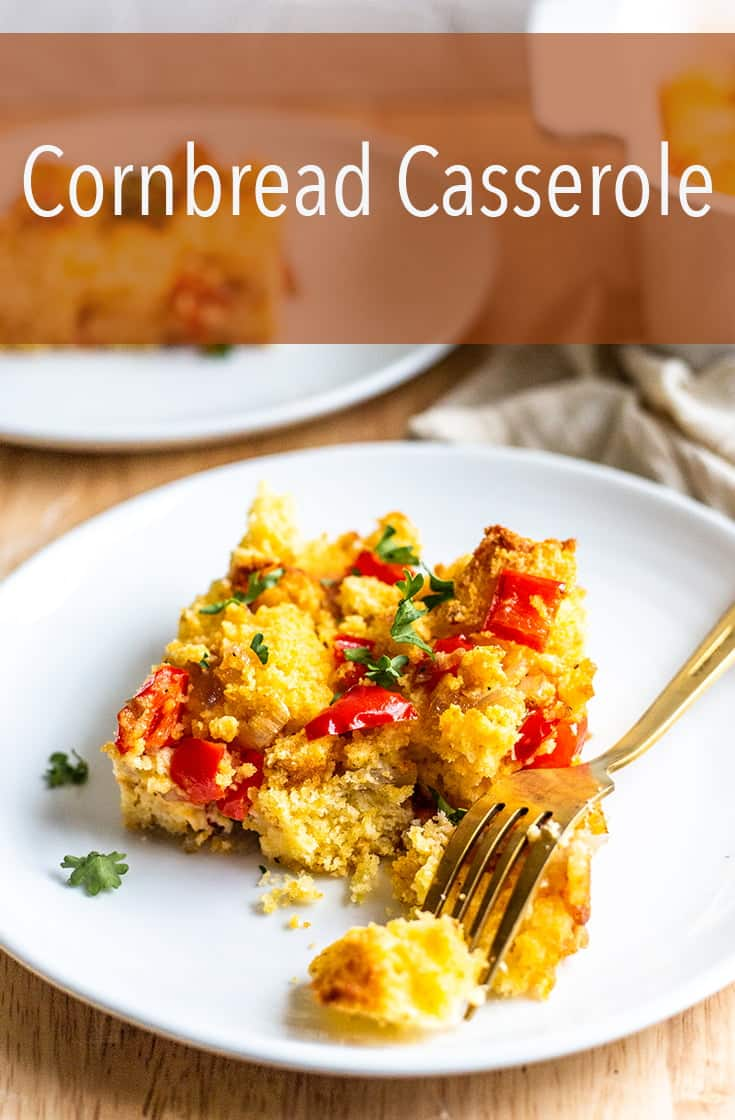If you\'re looking for a classic, southern inspired side dish this Cornbread Casserole is the perfect recipe. It uses homemade cornbread croutons, peppers, shallots and plenty of butter. #cornbread #sidedish #casserole #thanksgiving #holiday #homemade
