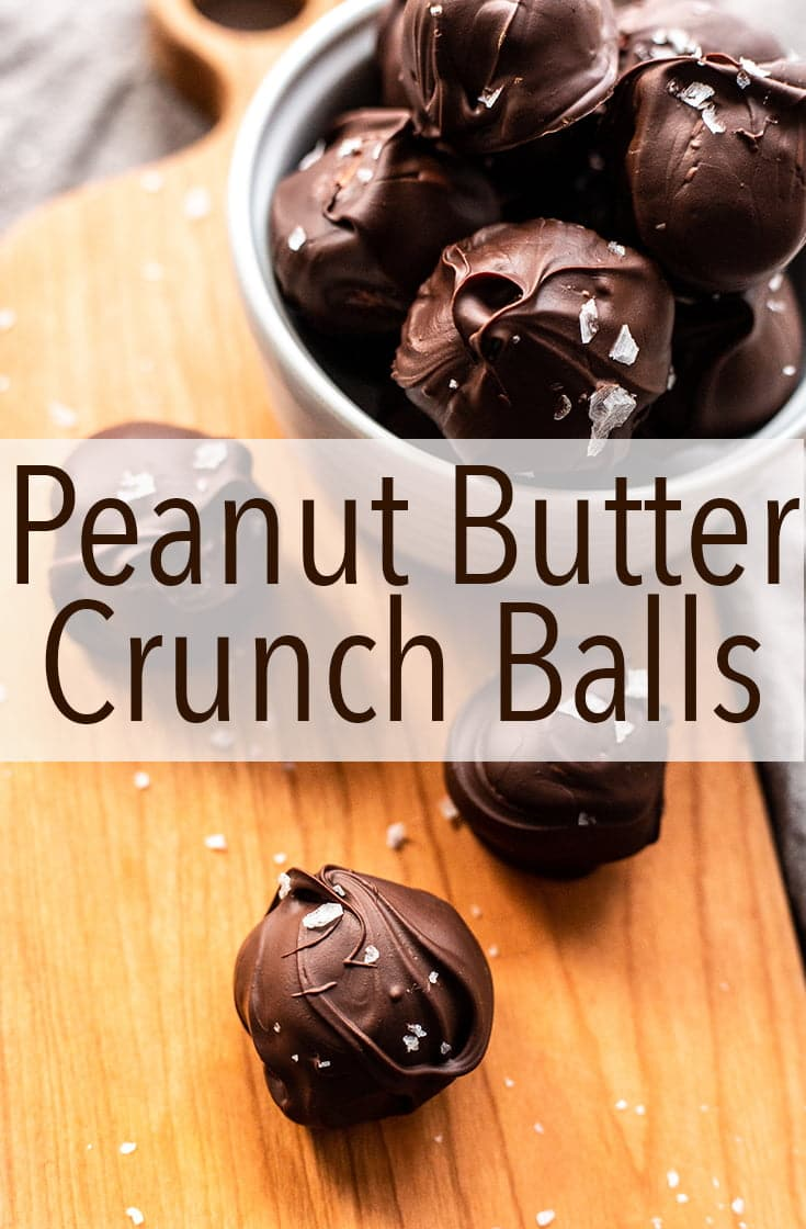Don\'t feel like baking Christmas cookies? This classic recipe for Peanut Butter Crunch Balls is really easy to make and you don\'t even have to turn on the oven. #chocolate #chrsitmascandy #candy #candyrecipe #easyrecipe #nobake