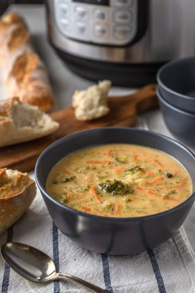 This Instant Pot Broccoli and Cheese Soup is creamy, loaded with veggies, and ready in minutes thanks to the Instant Pot. Serve it with a crusty loaf of bread and a green salad for an easy weeknight meal.
