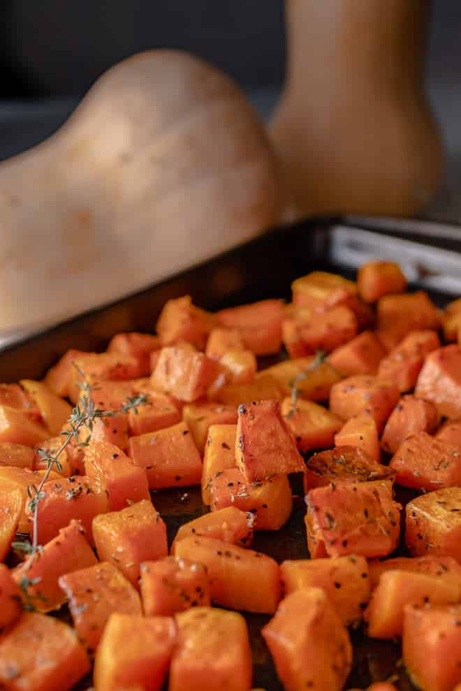 Serve this roasted butternut squash with its gorgeous caramelized crust as a side dish or to create salads, soups, and even desserts.