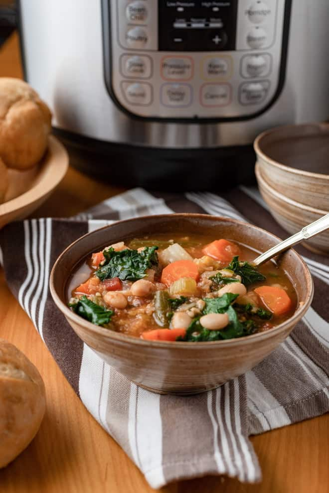 Loaded with vegetables, this Instant Pot Vegetable soup is full of flavor and sure to be a hit any time of the year. Serve a crusty loaf of bread alongside for a satisfying meal.