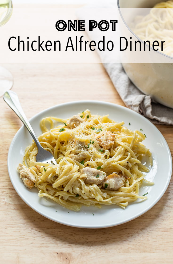 Pressed for time? This Chicken Alfredo pasta recipe combines everything all in one pot for an easy comfort food meal. The pasta cooks right in the sauce.