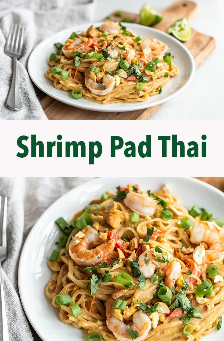 This classic shrimp pad thai is easy to assemble with authentic flavors from peanut butter, soy and fish sauces, Sriracha, green onion, and cilantro. The shrimp are a succulent addition to the rice noodles.