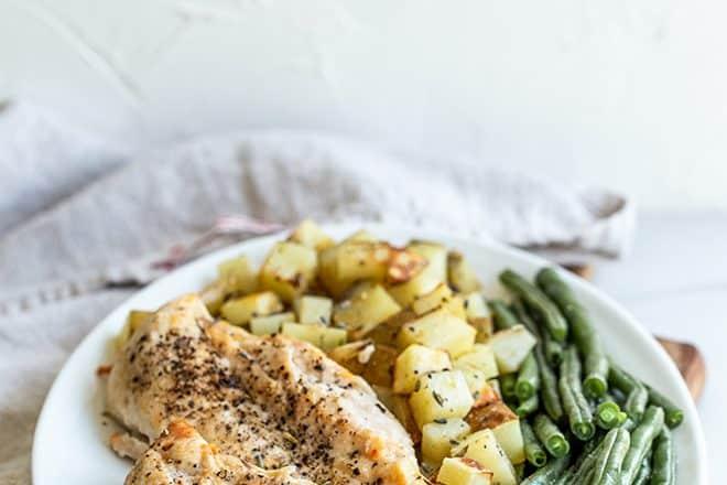Chicken, potato, and green bean dinner.