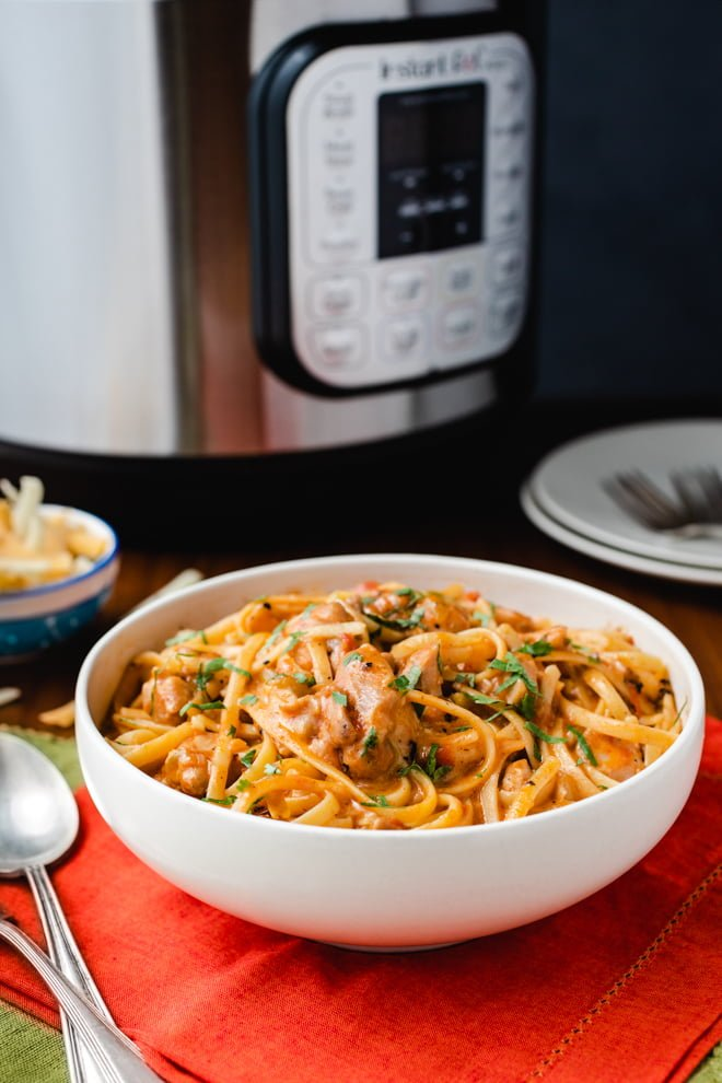 Southwest Chicken Pasta is a one-pot Instant Pot chicken dinner that delivers a flavor-packed meal in minutes.