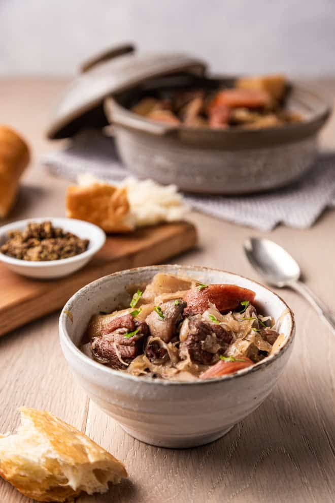This hearty Polish Hunter's Stew or Bigos, considered the national dish of Poland by many, is nothing short of a great big hug in a bowl.
