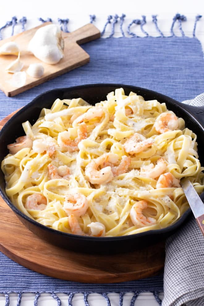 What's better than fettuccine alfredo? Fettuccine alfredo with shrimp! I'll show you how to make it quickly and easily.