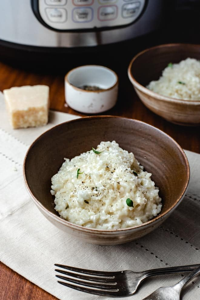 This Instant Pot Risotto takes most of the work out of the classic risotto but leaves all of the creamy flavor in.