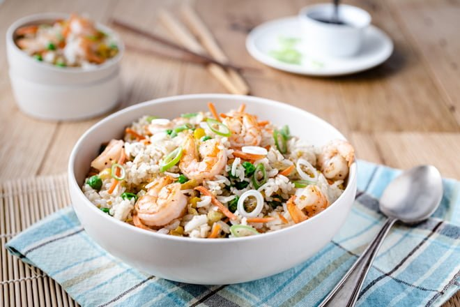 Shrimp Fried rice in a wide white bowl.