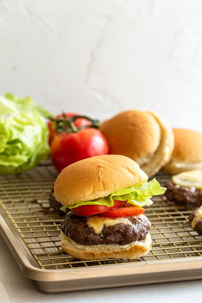 You can make Baked Burgers right inside your oven. Cook them on a baking sheet when it's raining or too cold to go outside and grill.