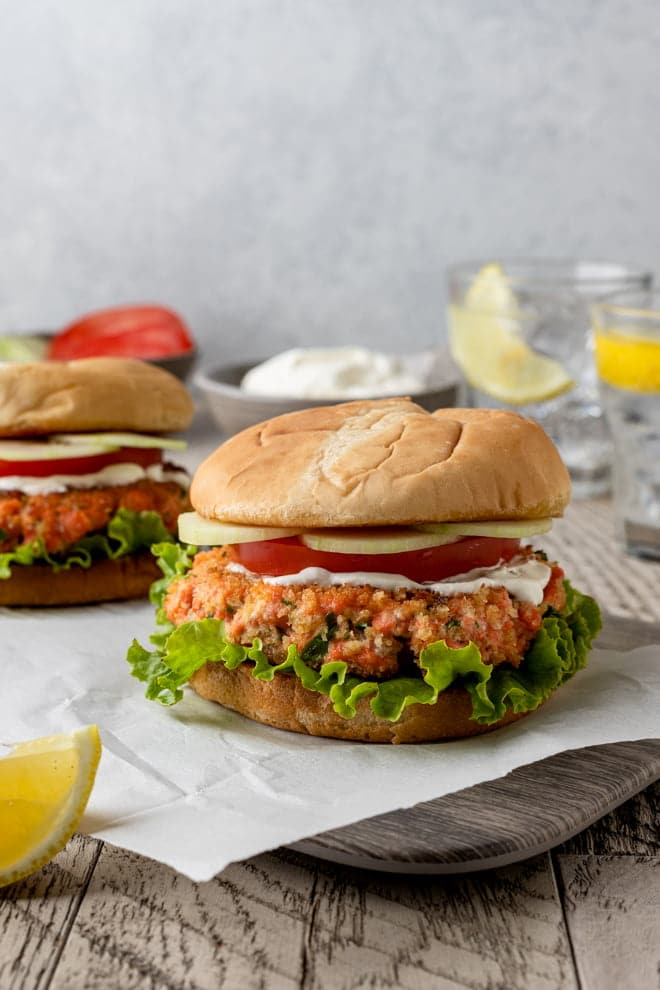 These Salmon Burgers boast the fresh, clean flavors of the salmon. The crispy crust gives way to a tender, flakey salmony interior.