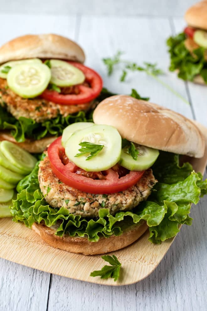 This easy Salmon Burger recipe relies on things right from your pantry. Fresh parsley and lemon zest add a pop of color and a bright flavor to the canned salmon.