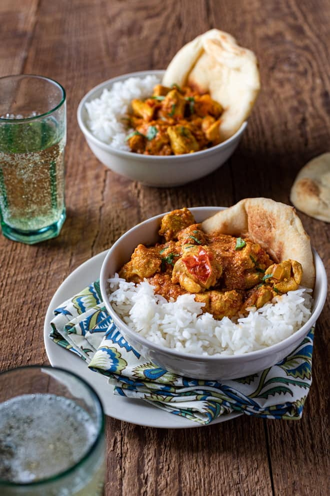 This simple Indian-inspired Chicken Curry can be on the table in about 45 minutes. Serve it with rice and toasted naan.