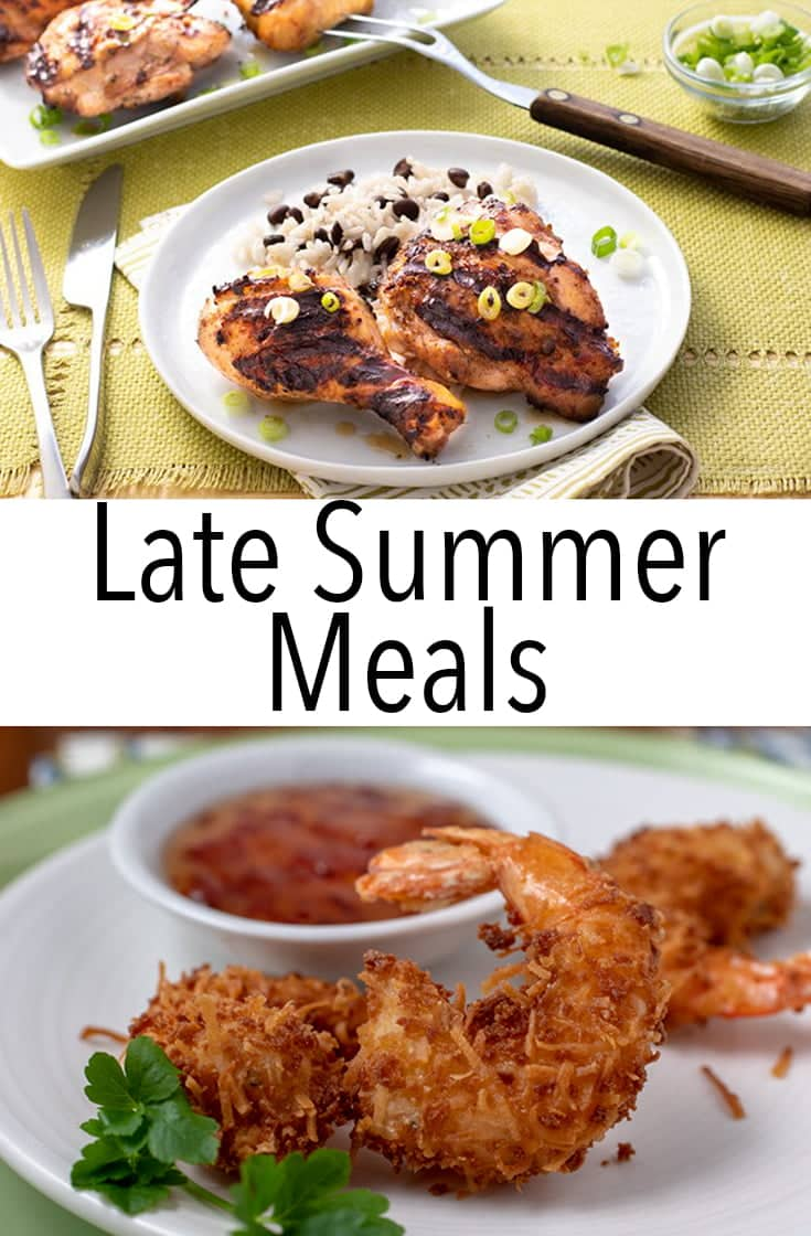 Check out these Late Summer Meals for hot summer day meal inspiration in August and September. They\'ll help you beat the heat and use up produce.