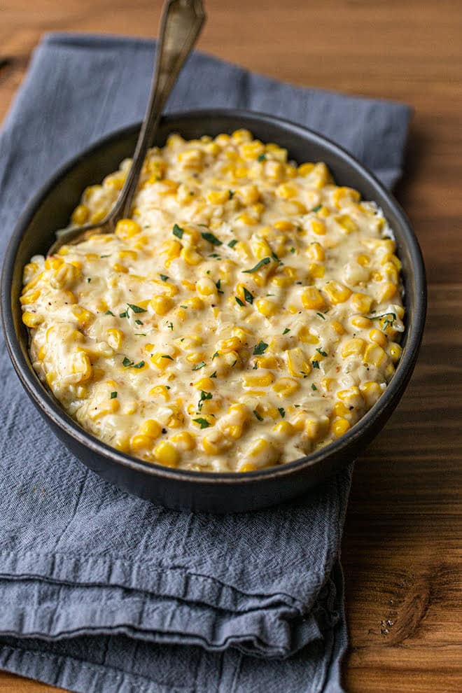 Creamed corn is a classic comfort food side dish that can be served year-round, or during the holidays. Rich, silky, sweet and delicious.