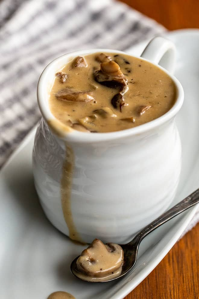 Homemade Mushroom Gravy is simple to prepare and is the perfect thing to pour over roasts, steaks, and potatoes. It takes less and 30 minutes!