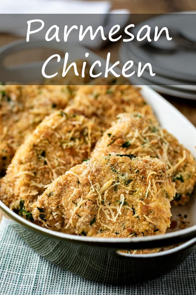 Pounded to an even thickness, these chicken breasts are crusted with Parmesan-seasoned breadcrumbs and baked to crispy, crunchy perfection. #chicken #parmesan #chickenbreasts