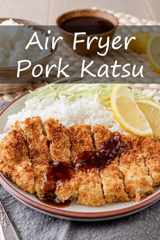 Juicy, tender pork cutlets wrapped in a crispy layer of breadcrumbs with a sweet-and-savory sauce drizzled over the top makes this Air Fryer Pork Katsu an easy dish to fall in love with. #airfryer #pork #katsu