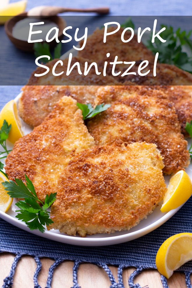 A simple cutlet with a crispy, crunchy coating makes an irresistibly easy meal. #pork #schnitzel