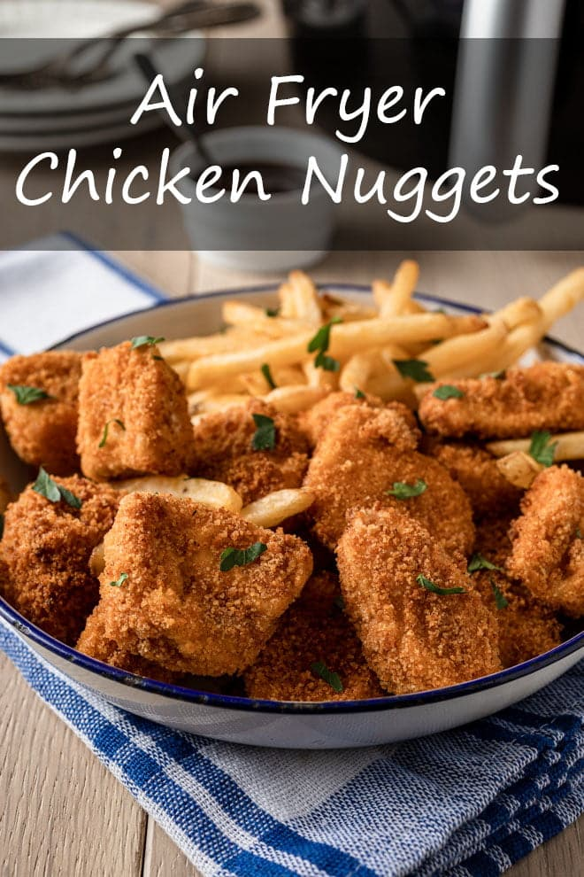 These Air Fryer Chicken Nuggets are a delicious, mostly-healthy, guilt-free way to get a family favorite meal on the table quick and easy. #airfryer #chicken #nuggets #familyfavorites #kidfriendly