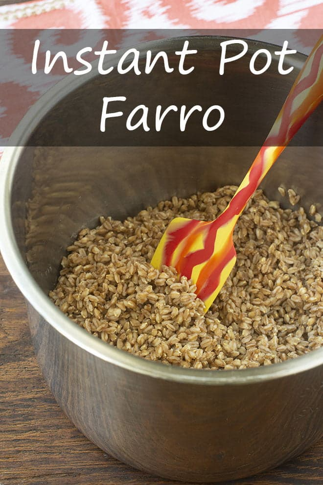 Learn how to cook farro in the Instant Pot. It\'s ready really quickly and is exactly the right texture every time. #instantpot #farro #grain #sidedish