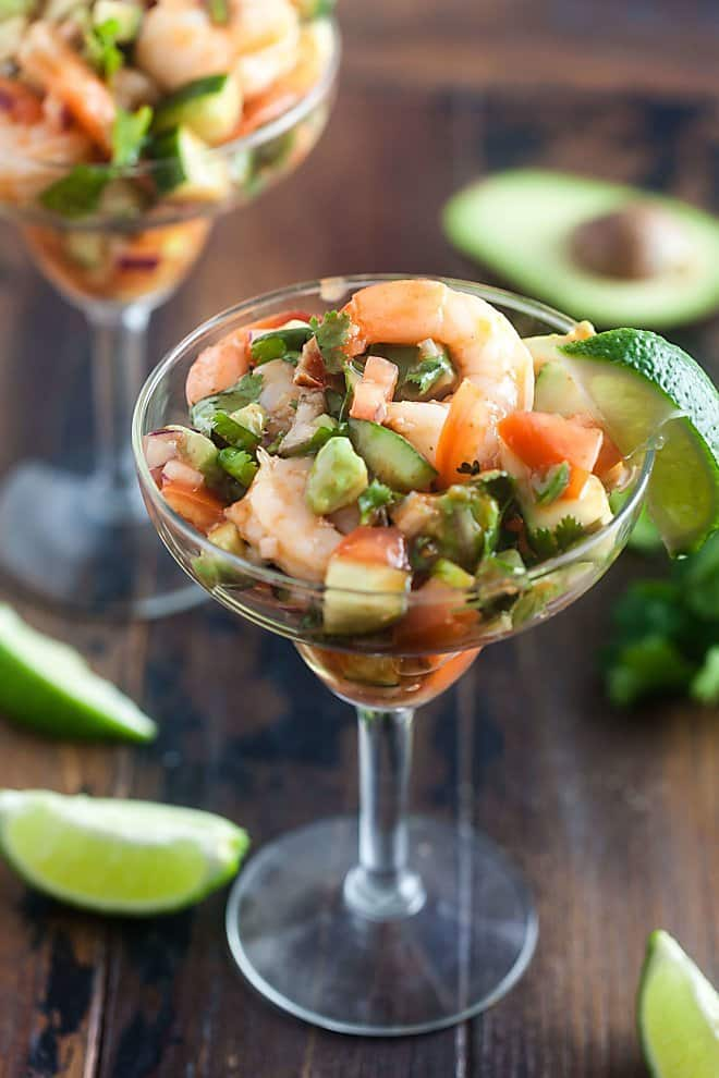 Sweet, tart, spicy, and crunchy -- this Mexican Shrimp Cocktail hits all the right notes!