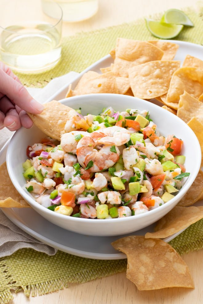 Fresh, lively, and flavorful, my best shrimp ceviche is jam-packed with tomato, cucumber, avocado, onion, cilantro, and jalapeno—plus, of course, tons of citrusy shrimp!