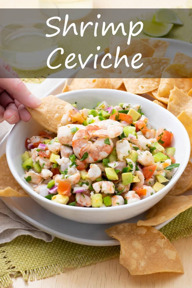 Fresh, lively, and flavorful, my best shrimp ceviche is jam-packed with tomato, cucumber, avocado, onion, cilantro, and jalapeno—plus, of course, tons of citrusy shrimp! #shrimp #ceviche #appetizer #seafood