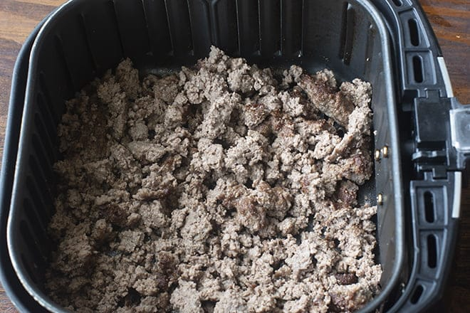 Then your ground beef will be cooked and crumbled. You can crumble it more or less.