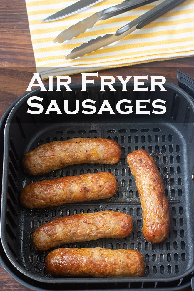 Cooking sausages in the air fryer is hands-free, quick, and the sausages turn brown and crispy on the inside, and juicy in the middle.