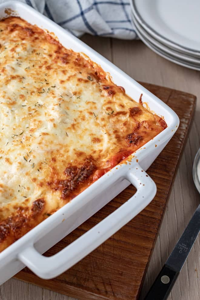 This Easy Lasagna Casserole is the answer for when the desire for a slice of bubbly, cheesy lasagna strikes but you just don't have the time to prep all of the ingredients!